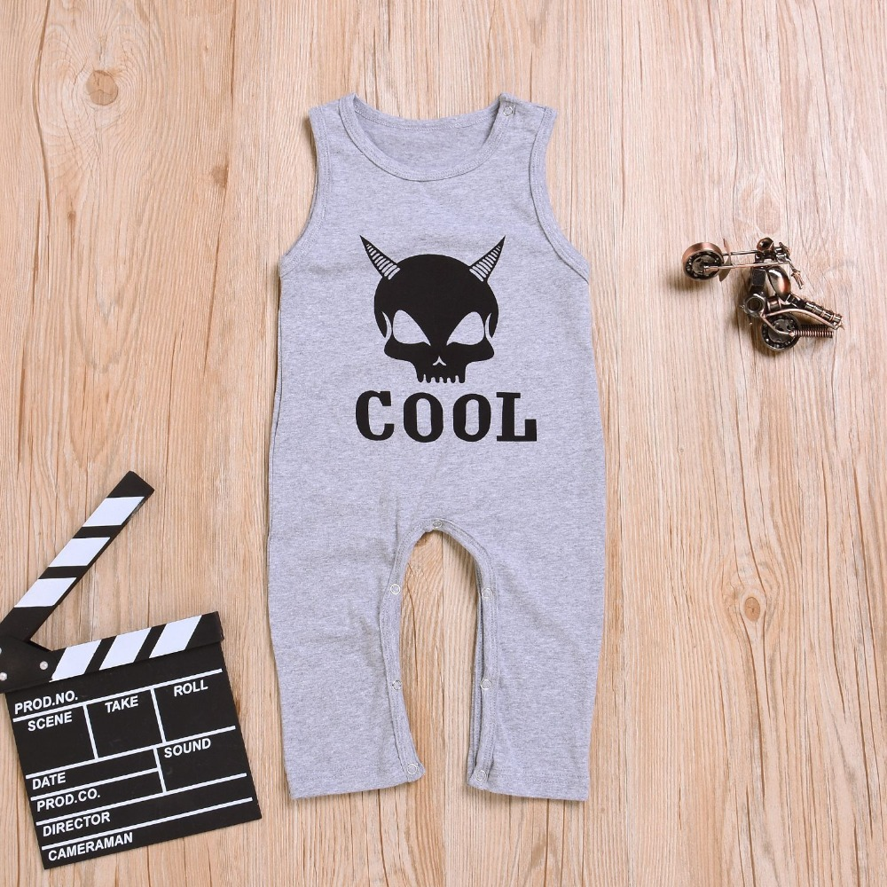 Baby Boy Rompers Grey Sleeveless Newborn Bebe One Piece Jumpsuits Clothes 2018 Halloween Toddler Kids Overalls Children Costume