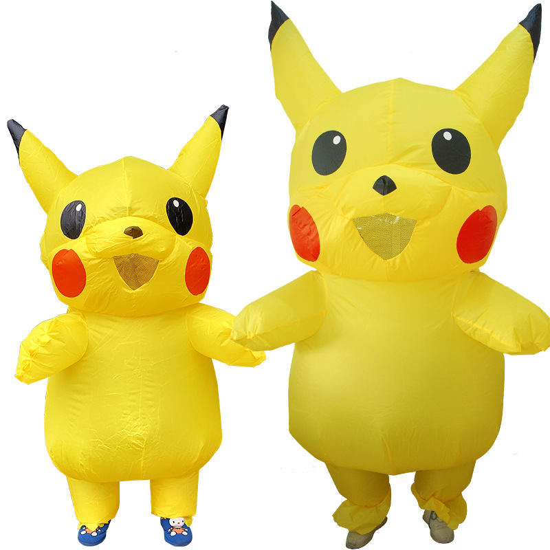 Cute Pikachu Inflatable Costume For Adult Child Christmas/Halloween/Birthday/Make-up Party Fun Toy Dress Up Cosplay Suits Outfit