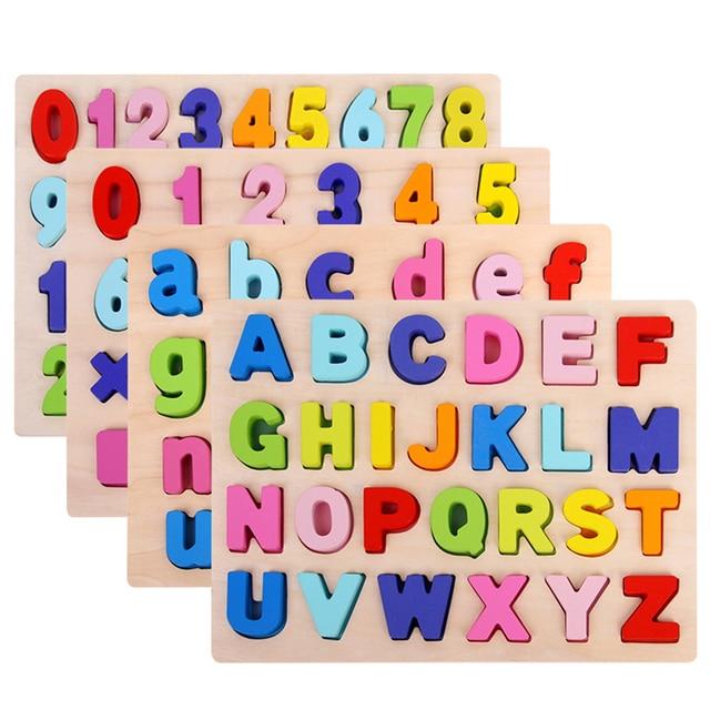 ABC פאזל דיגיטלי צעצועי עץ למידה מוקדמת פאזל מכתב אלפבית מספר פאזל בגיל הרך חינוך תינוק צעצועים לילדים