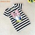 Malayu Baby 2016 explosion models girls short-sleeved summer dress Donald Duck, little rabbit   striped mini dress cartoon 2-7 Y
