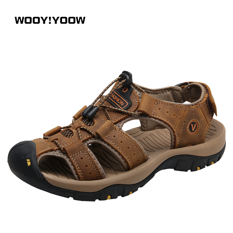 WOOY!YOOW 2018 New Summer Men's Sandals Genuine Leather Men's Casual Shoes Large Size Breathable Light soft Beach Sandals Shoes