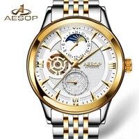 AESOP Brand Men Watch Men Automatic Mechanical Moon Phase Fashion Gold Wrist Watches Wristwatch Male Clock