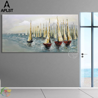 Modern Sailboat Oil Painting Sea Picture Poster Wall Canvas Art for Living Room Bedroom Bathroom Decoration (No Frame)