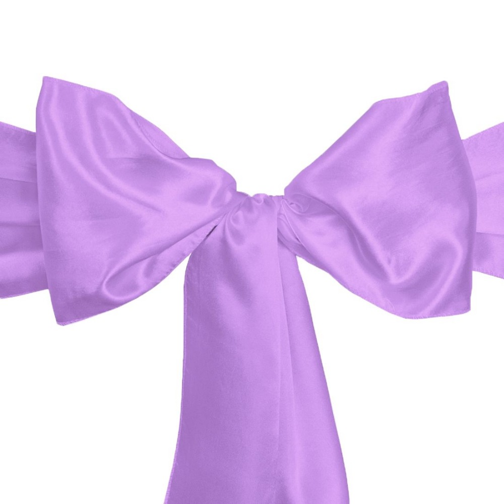 100Pcs Lavender Elegant Bridal Chair Sashes Bow Back Tie Table Runner For  Wedding Party Banquet Decor