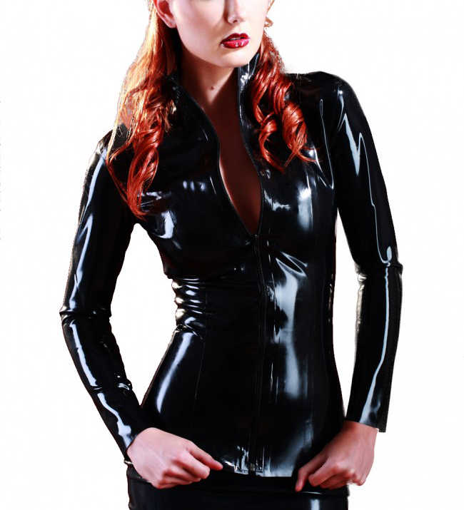 Latex Jacket Thickness 0.4MM Latex Shirt Black Suit For Girls