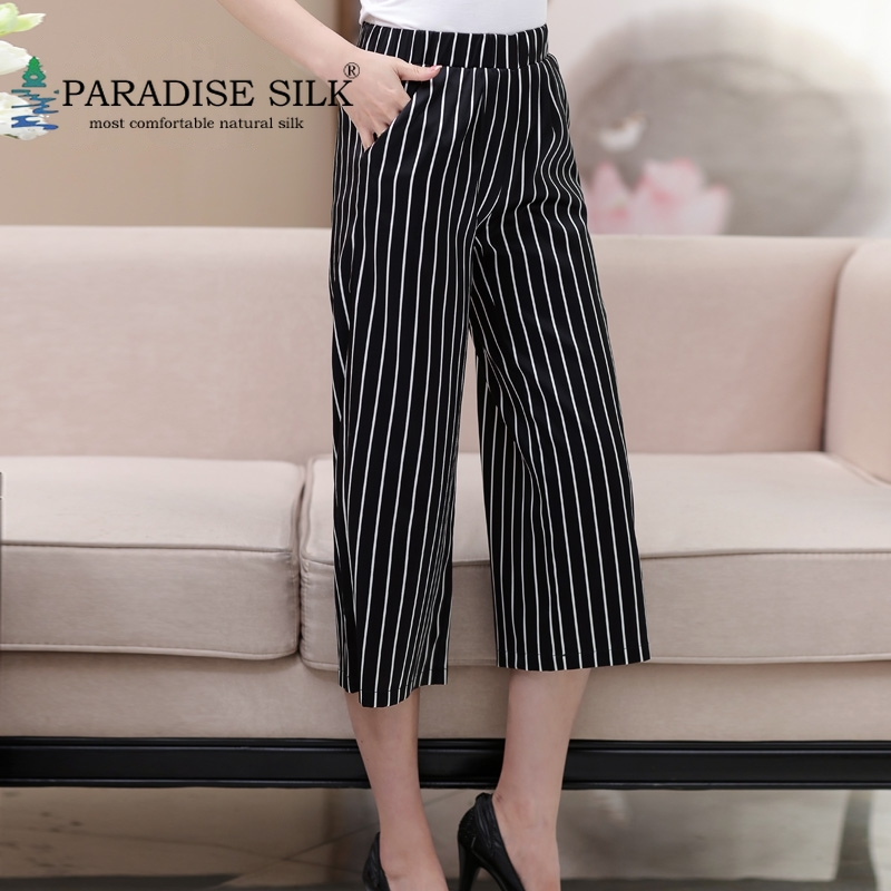 Women's Wide leg Pants 93% Silk and 7% Spandex High Waisted Cropped Seventh Length Pants Size L XL XXL XXXL 4XL
