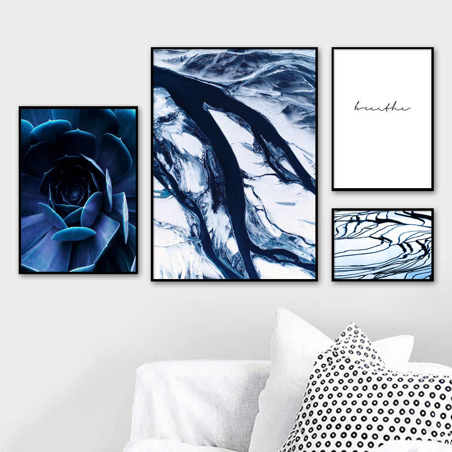 Blue Marble Texture Succulent Plants Wall Art Canvas Painting Nordic Posters And Prints Wall Pictures For Living Room Home Decor
