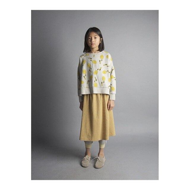 2016 новая Осень мода бобо выбирает детская полный рукав футболки хлопка Младенца ложка шаблон Топы мальчик девушки Тройник одежда