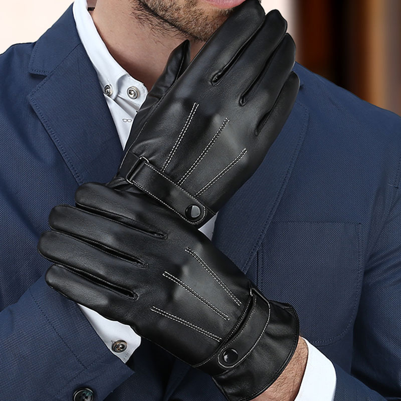 Men's Fashion PU Leather  Winter Driving Gloves Touching Screen Gloves