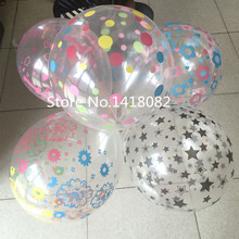 Transparent balloon (100pieces/lot) 12 inch 2.5g round transparent printing latex happy birthday decoration