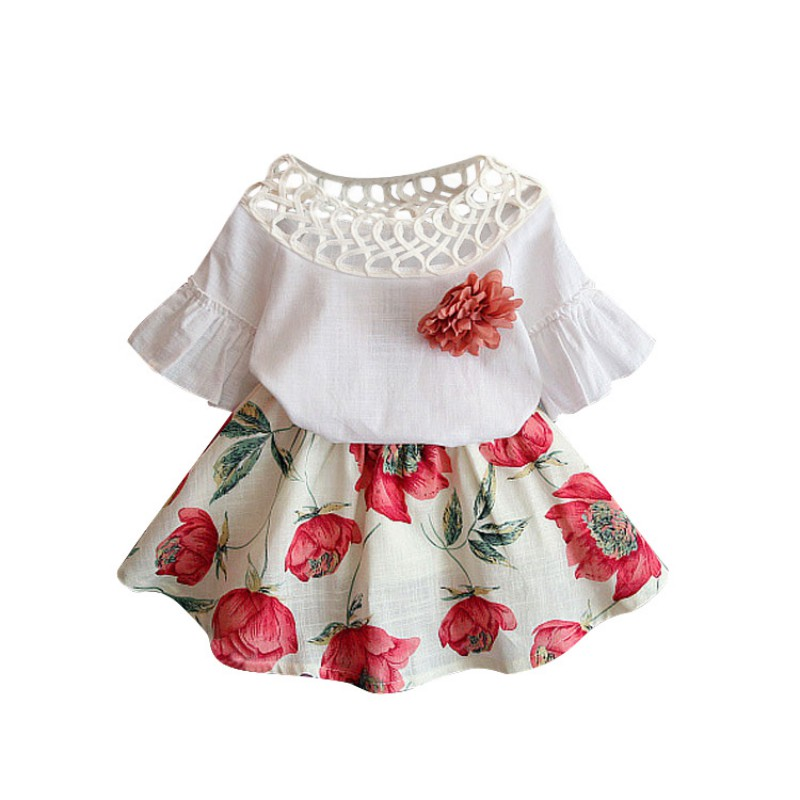 2018 Summer Kids Girls Dress American and European Style 2pcs Suits Baby Solid Tops+Simple Children Flower Skirts Clothes Outfit 2pcs baby kids girls rabbit bunny green cotton t shirt tops dots denim bib overalls skirts outfit clothes 1 5y