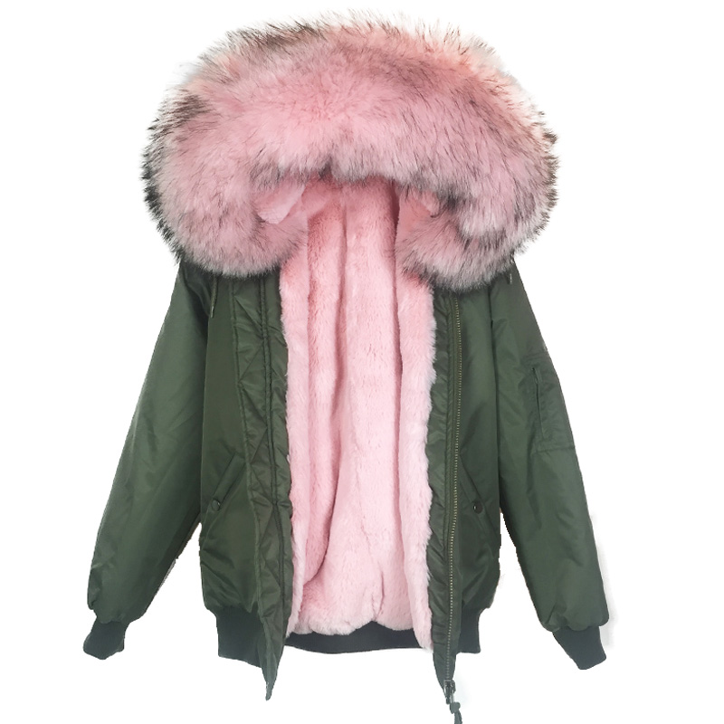 Solid Warm Raccoon Fur Collar Coat Women Winter Real Rex Rabbit Liner Hooded Jacket Women Bomber Parka Female Ladies FP101204 red shell warm raccoon fur collar coat women winter real fox fur liner hooded jacket women long parka female ladies fp891