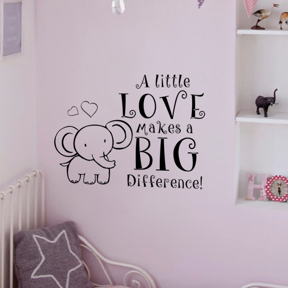 Elephant Baby Room Decal Nursery Wall A Little Love Makes Difference Vinyl Art Quote