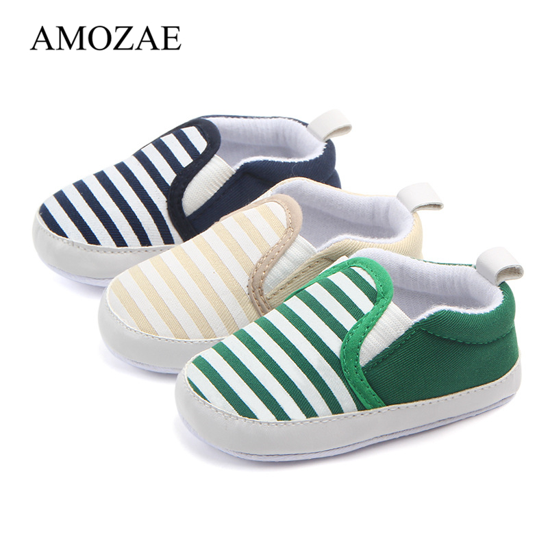 2020 Baby Striped Shoes For Newborn Lovely Infant Baby Boys Girls First Walkers Soft Sole Anti-Slip Indoor Toddler Footwear