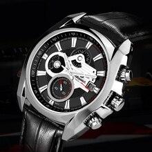 CASIMA Men Quartz Watch Luminous Waterproof Leather Strap Multi-function Casual Cool Sports Wristwatch Mens Analog Wrist Watches