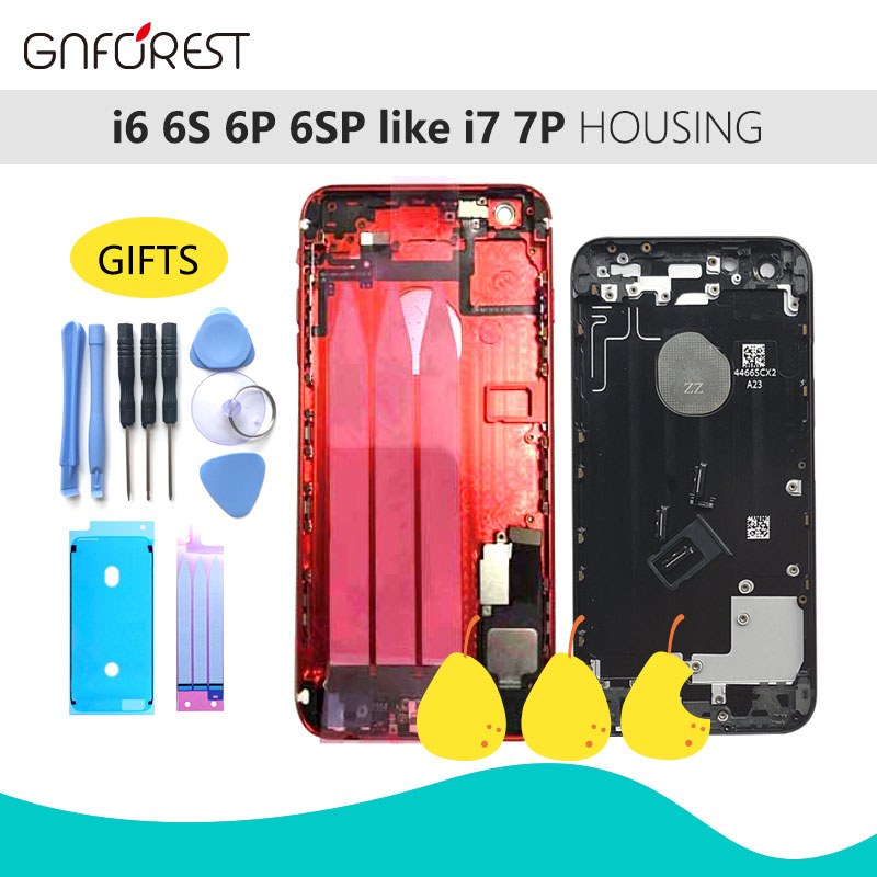 Glass Body Housing For IPhone 6 6G 6P 6SP Like 7 7P Chassis Back Housing Battery Cover+LOGO&Buttons&Sim Tray+Sticker