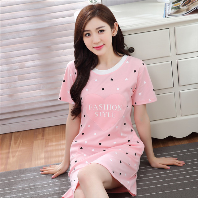 2017 New Summer Short Sleeve Sexy Lingerie Nightdress Female Cotton Casual Cotton Nightgown Cartoon Lovely Loose Home Sleepwear
