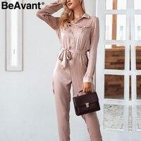 BeAvant Satin elegant long sleeve jumpsuits rompers Casual sash button overalls playsuit High waist 2018 winter jumpsuit women