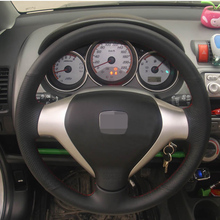 Black Artificial Leather Car Steering Wheel Cover for Honda Old City Fit Jazz
