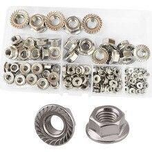 Flange Nuts Hex Lock Self-Locking Metric Thread Serrated Nut 304 Stainless Steel Assortment Kit 125Pcs,M3 M4 M5 M6 M8 M10 M12 цены