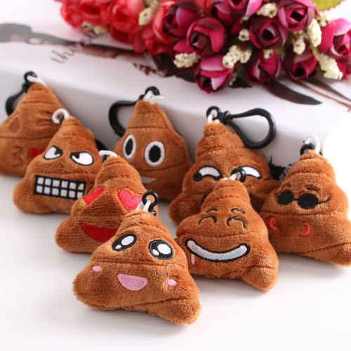1 Pcs Plush Mini Emoji Pelúcia Brinquedo Da Corrente Chave Chaveiro Chaveiro Emoticon Engraçado Saco Do Presente Clipe Cocô Rosto Cor Aleatória