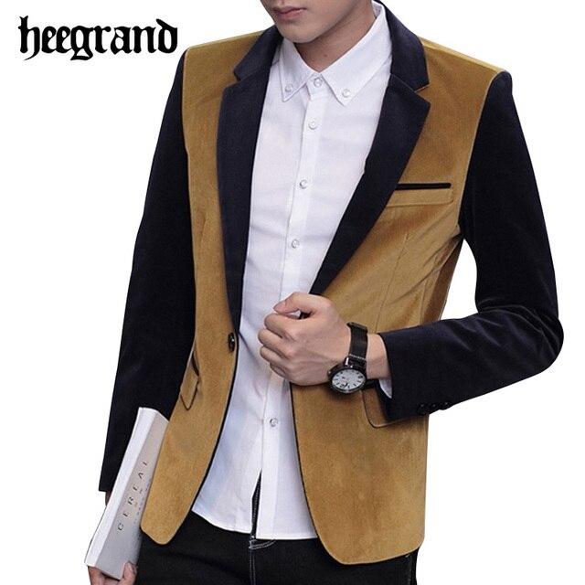 HEE GRAND 2017 Новый Лоскутная Цвет Досуг Мужчины Пиджаки Мода Slim Мужской Одежды Случайные Мужской Пальто MWX352