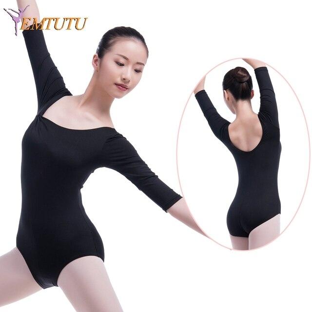 5aea84ab0 adult Long Sleeve Ballet Dance Leotards Women Black lycra Gymnastics ...