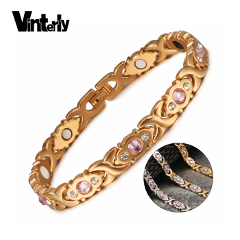 Vinterly Magnetic Bracelet Women Chain Crystal Gold-color Stainless Steel Bracelet