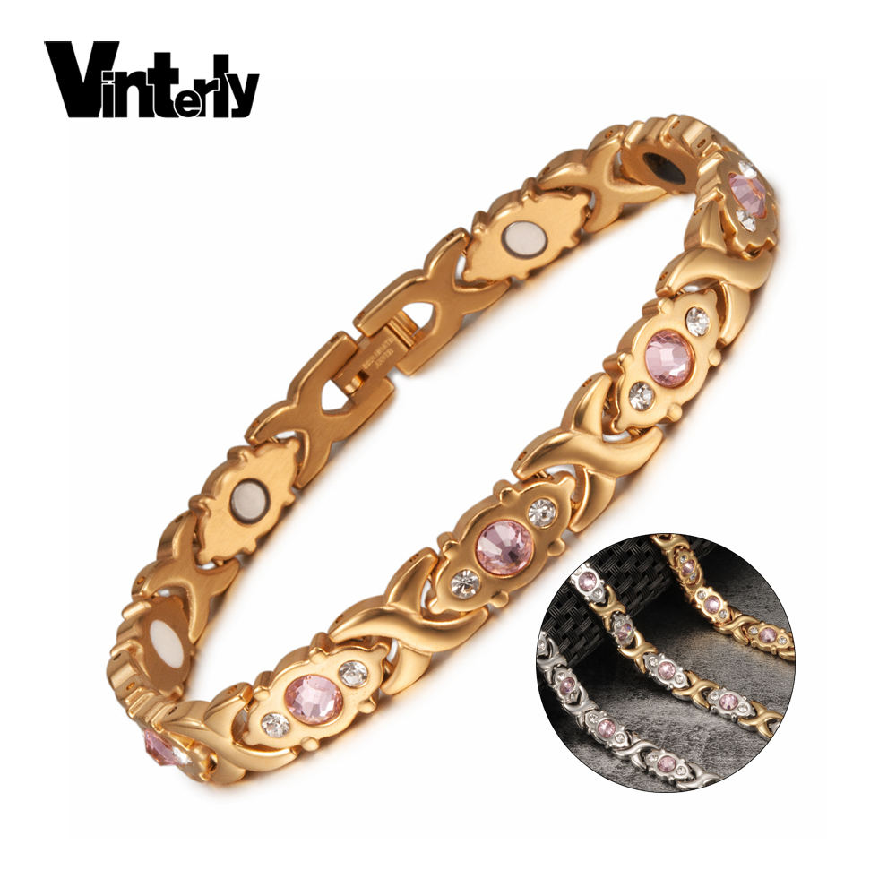 Pulsera magnética Vinterly para mujer, pulsera de acero inoxidable de color oro y cristal, pulseras de energía de salud cruzada para mujer