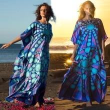 Womens Boho Plus Size Maxi Beach Dress Swimsuit Cover Up Long Kaftan