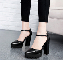 Best Selling Spring Lady Shoes Point Toe   High Heel Strong Heel Sexy Dress Shoes Black Only Size 34-39 Dropshipping R002