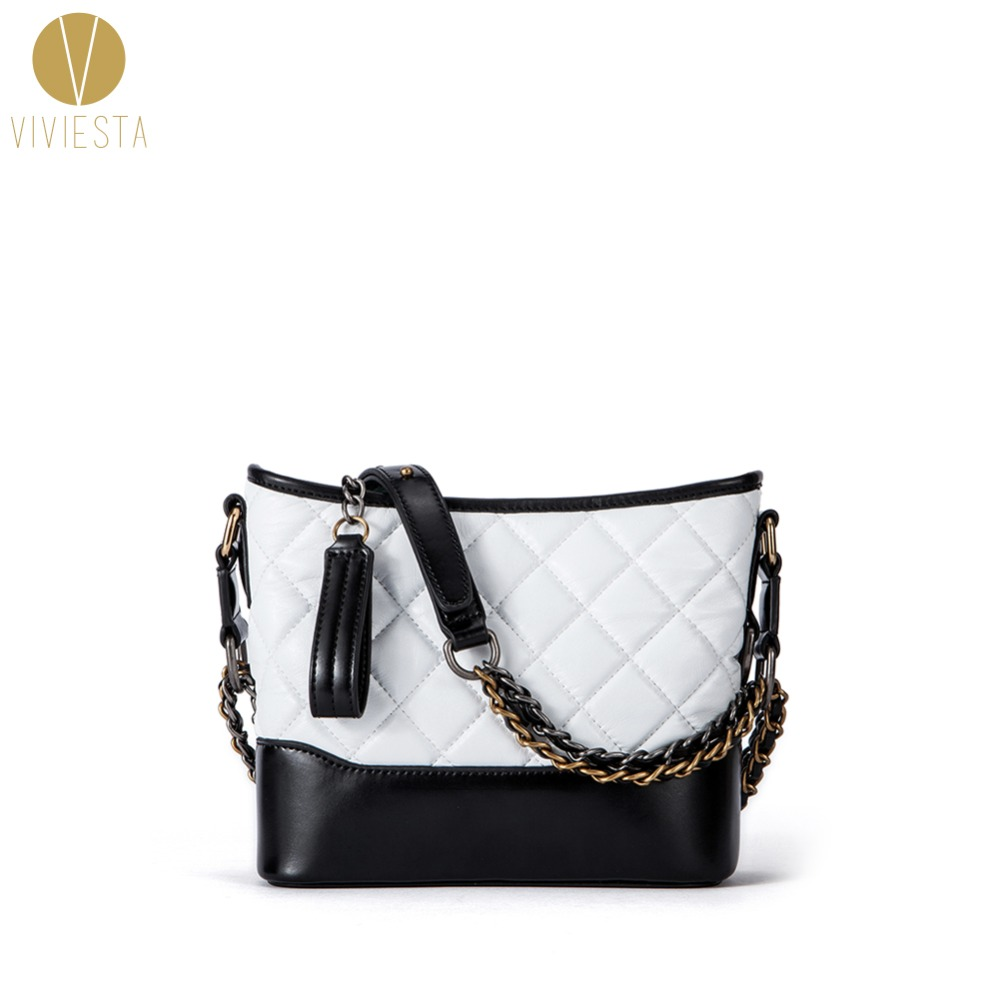 SHEEPSKIN LEATHER DOUBLE CHAINS QUILTED SHOULDER BAG - Women's 2018 Elegant Fashion Vintage Plaid Mini Bucket Cross Body Handbag