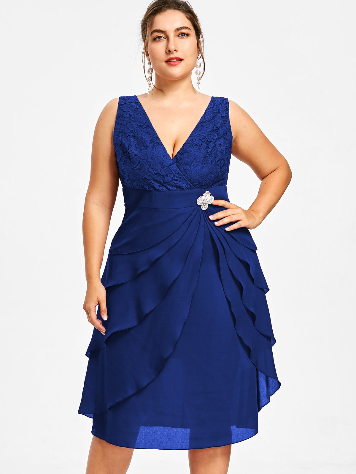 US $21.99 49% OFF|Gamiss Plus Size Sleeveless Tiered Dress With Brooch A  Line V Neck Solid Summer Dress 2018 Women Elegant Party Vestidos-in Dresses  ...
