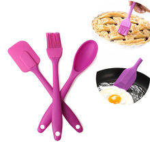 3Pcs/set Kitchen Tools Set Silicone Spatula/Brush/Spoon Uten