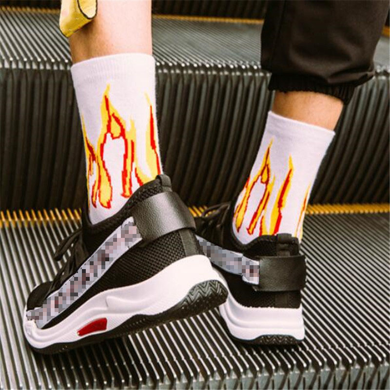 Men-Fashion-Hip-Hop-Hit-Color-On-Fire-Crew-Socks-Red-Flame-Blaze-Power-Torch-Hot(1)