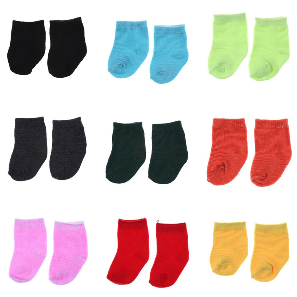 9 colors 1 Pair New Style Popular American Girl Soft Cotton Doll Sock Clothing Acessories For