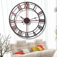 15.57/17.72 Inch Wall Clocks, Large Vintage Home Decorative European Roman Hollow Out Iron Clock living room Home Decor battery