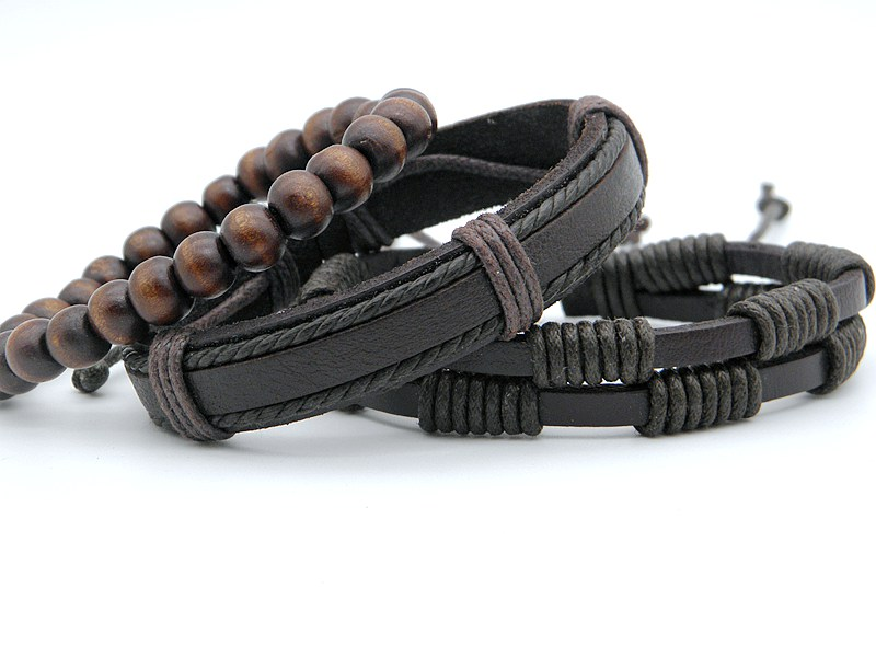 Stylish leather Braid Hemp bracelets Men's Women's Handmade Wood Beads leather Wrap Combined bracelets Jewelry Gifts 3pcs/set 16