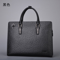 delin 179 Ostrich skin, male leather handbag, single shoulder bag, men's fashion personality, business male leather cross