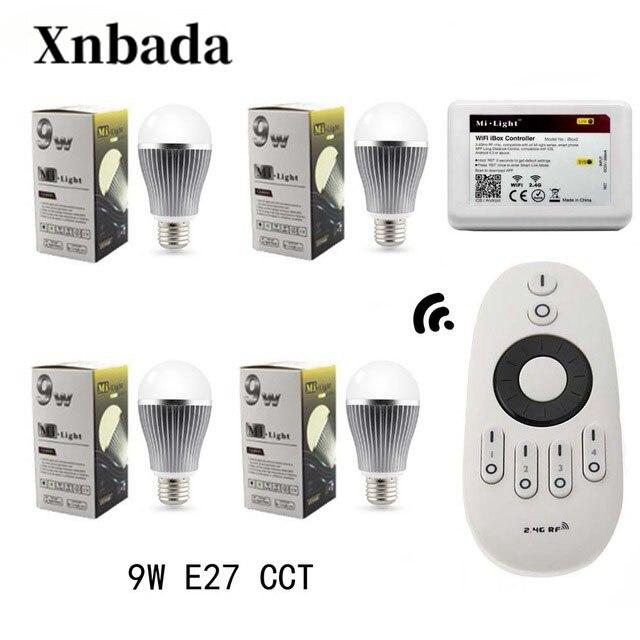Mi Light IBX2 RF télécommande WIFI contrôleur + lampe à Led E27 9 W CCT (CW/WW) Led ampoule + CT télécommande lumière Led livraison gratuite