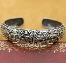 New! Handmade 925 Silver Lucky Animal Bangle Real Sterling Silver Man Bangle Vintage Silver Punk Jewelry Bangle