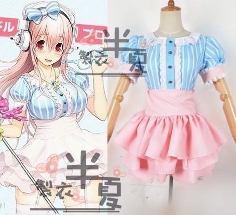 Super SONICO Blue Pink Stripes Skirt Cosplay party Costume dress Halloween Custom Made Free Shipping