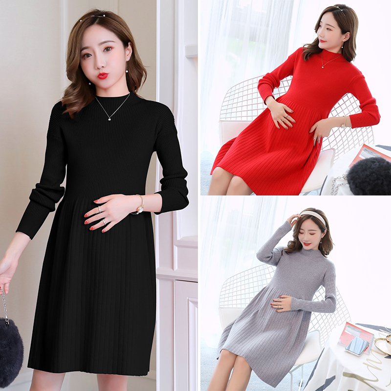 9059# 2018 Autumn Winter Fashion Maternity Sweaters Slim Knitted Loose Dress Clothes for Pregnant Women Thicken Warm Pregnancy autumn winter new pregnant women sweater thickening slim package hip warm clothing knitted shirt maternity sweaters