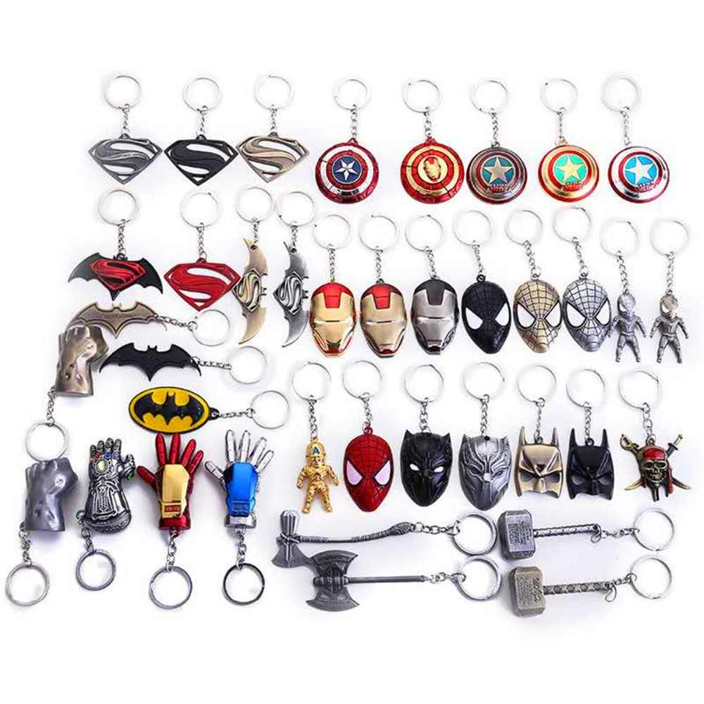 2019 Metal Marvel Avenger Captain America Shield Keychain Spider man Iron man Mask Keychain Toy Hulk Batman Keyring Key Gift Toy