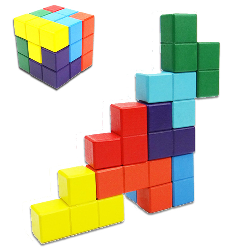 Novelty Toys Tetris Magic Cube Multi-color 3D Wooden Soma Puzzle Educational Brain Teaser IQ Mind Game For Children Adult MZ174 metal puzzle iq mind brain game teaser square educational toy gift for children adult kid game toy