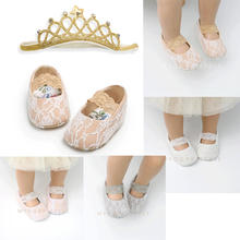 Newborn Baby Girls Princess Shoes Lace Floral Todder Infant Soft Sole Crib Shoes+Crown Headbands 2pcs Prewalker Baby Wear(China)