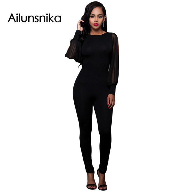 Ailunsnika Autumn Winter Black Sheer Split Long Sleeve Open Back Jumpsuit O-Neck Catsuit Bodycon Sexy Overalls DL64141