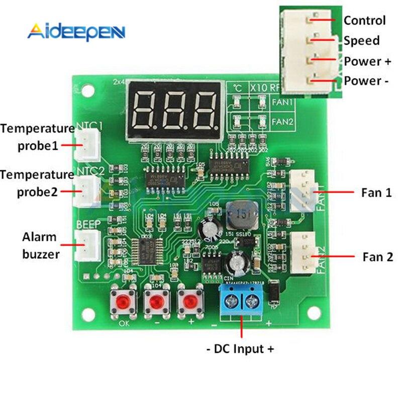 4 fio 2 canais pwm ventilador controlador de temperatura do motor do ventilador controlador de velocidade led digital termostato dc 12 v 24 v dissipador de calor