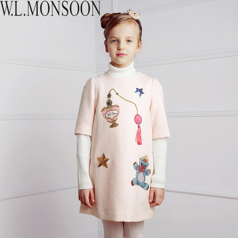 Girls Dress Kids Clothes 2016 Autumn Winter Princess Dress Robe Fille Bear Star Pattern Children Party Dresses for Girls Clothes