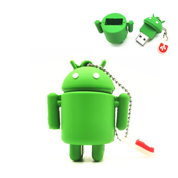 2019 New Pen Drive Cartoon Cute Android Robot External Storage 8GB 16GB 32GB 64GB  USB Flash Drive Memory Stick Pendrive Gifts